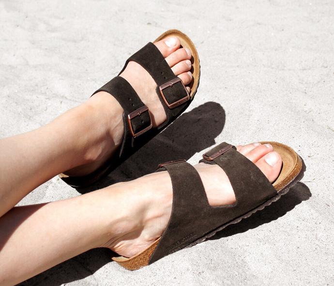 Mørkebrune Birkenstock sandaler