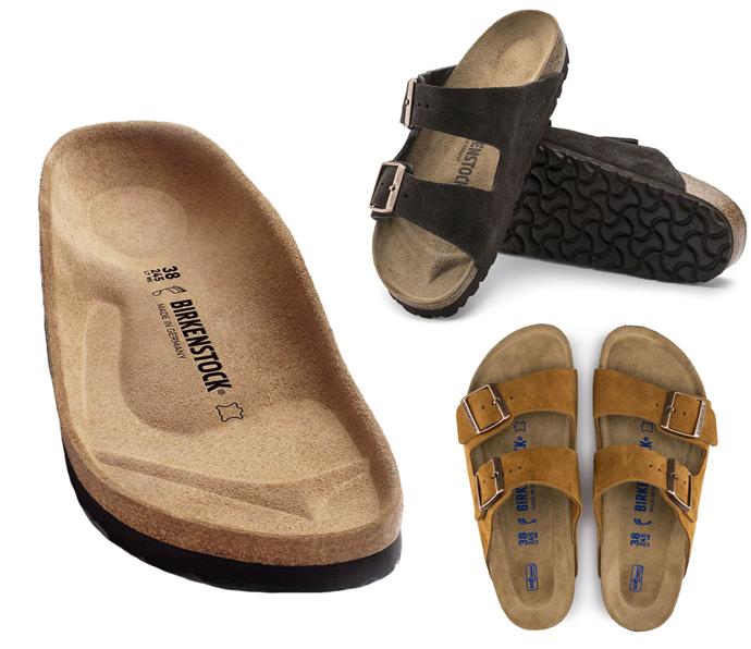 Mørke- og lysebrune Birkenstock sandaler