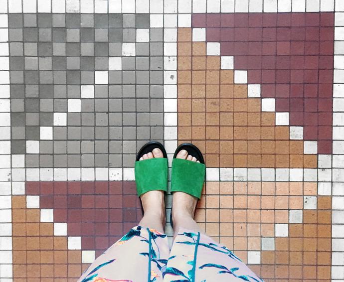 Flade slip-in sandaler med grønt ruskind fra Vagabond